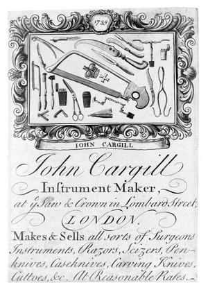 view Trade card of John Cargill, instrument maker.
