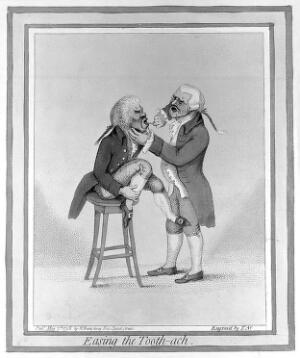view James Gillray's, 'Easing the Tooth-ach'