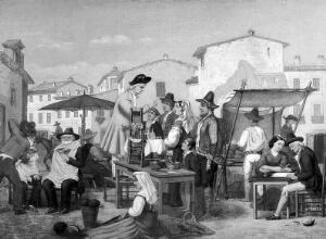 view A quack and a barber in an Italian market square. Oil painting by G.S. (?).
