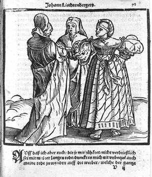 view Three pregnant women, from Lichtenberger, Practica, circa 1549