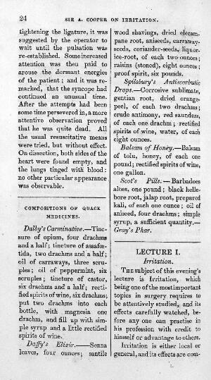 view Text from Compositions of quack medicines, Lancet.