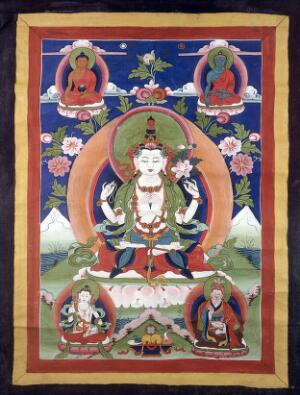 view Avalokiteśvara surrounded by other deities. Distemper painting.