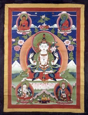view Avalokiteśvara surrounded by other deities. Distemper painting.