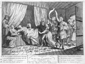 view Mary Tofts duping several distinguished surgeons, physicians and male-midwives into believing that she is giving birth to a litter of rabbits. Etching by W. Hogarth, 1726.