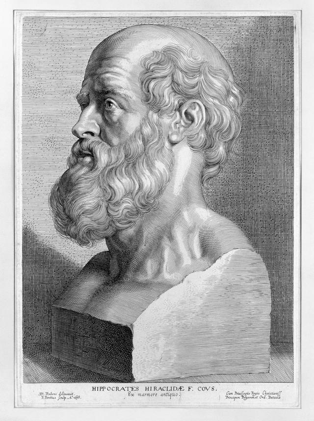 Engraving: portrait of Hippocrates,