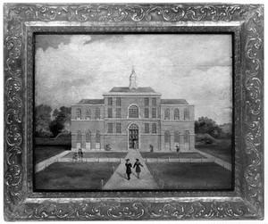 view Saint Pancras smallpox hospital, London. Oil painting.