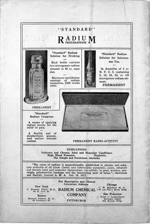 view Radium, 1916: advert