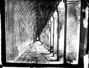 view Interior of the western colonnade of a Temple at Nakhon Thom [Angkor Wat], Cambodia.
