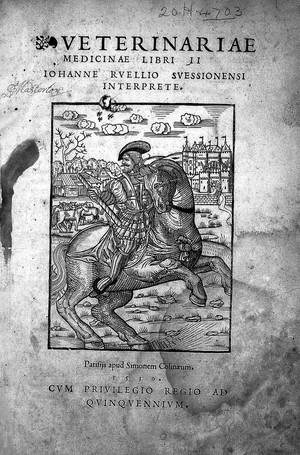 view J. Ruellius; Veterinariae medicinae.