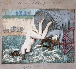 view Margate, Kent: a woman diving off a bathing wagon in to the sea. Coloured etching, ca. 1800.