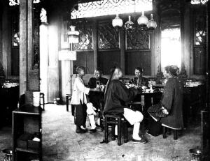 view Interior of tea-house, Hong Kong. Photograph, 1981, from a negative by John Thomson, 1868/1871.