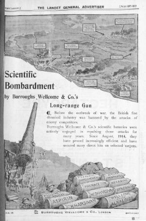 """view Advert from Lancet """"Burroughs Wellcome & Co"""", 1918"""