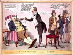 view A quack doctor offering a gouty John Bull some medicine whilst conventional doctors are turned away; satirizing British politics. Coloured lithograph attributed to J. Doyle.