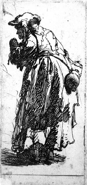 view Old beggar woman with a gourd. Etching by Rembrandt van Rijn, 1629.