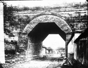 view Marbel arch at Kew-yung Jwan, Nankow Pass, Penchili province, China, built during the Yuen dynasty (c. 1345 AD)