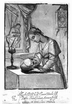 view Chiaroscuro woodcut: a woman meditating upon a skull