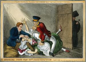 view Wellington and Peel in the roles of the body-snatchers Burke and Hare suffocating Mrs Docherty for sale to Dr. Knox; representing the extinguishing by Wellington and Peel of the Constitution of 1688 by Catholic Emancipation. Coloured etching by W. Heath, 1829.