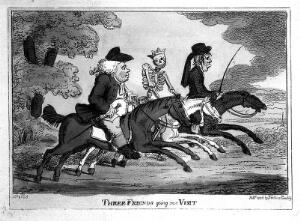 view Three figures on horseback, including Death. Coloured etching attributed to Charles Williams, 1806.