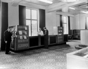 view Poynter, Gaskell and Walkins in library reading room, 1962