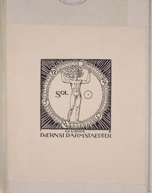 view Bookplate: 'Sol, ex libris Fr. Ernst