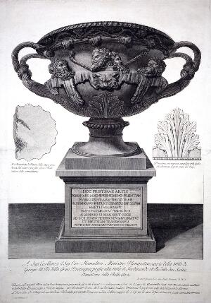 view A marble vase placed on a pedestal. Etching by G.B. Piranesi, ca. 1770.