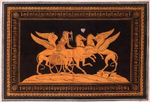 view A vase-painting: two gryphons attack a charioteer who defends with a sword. Coloured engraving, 17--.