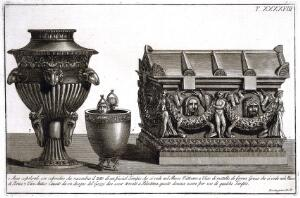 view A sepulchral chest with cover, a Greek metal cup, and a vase supported by goats' and rams' heads. Etching by L. Roccheggiani, ca. 1811.