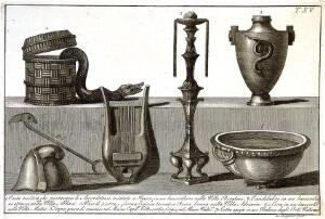 view Seven ancient utensils reconstructed from bas-reliefs etc. Etching by L. Roccheggiani, ca. 1811.