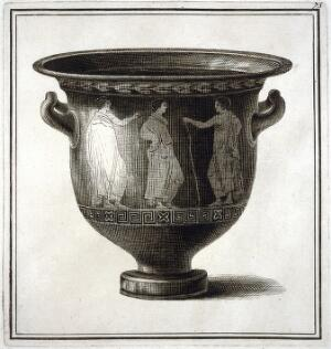 view A vase (bell-krater) painted with three young man wearing robes, two of them holding staffs. Engraving, 17--.