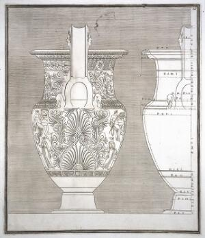 view The Hamilton vase: a wine-mixing bowl (krater) painted with a monument in which are a man with a horse, and with other figures; outline drawings from side with measurements. Engraving, 17--.