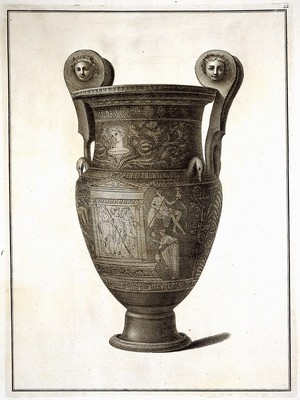 view The Hamilton vase: a wine-mixing bowl (krater) painted with a monument in which are a man with a horse, and with other figures. Engraving, 17--.
