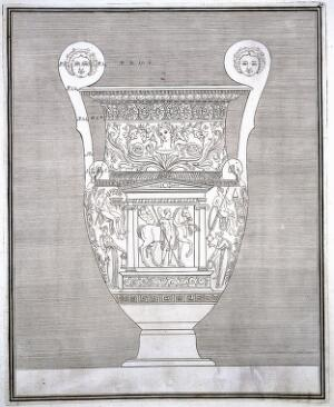 view The Hamilton vase: a wine-mixing bowl (krater) painted with a monument in which are a man with a horse, and with other figures; outline drawing from front with measurements. Engraving, 17--.
