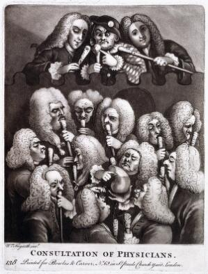 view A shield containing a group portrait of various doctors and quacks, including Mrs Mapp, Dr. Joshua Ward and John Taylor. Mezzotint after W. Hogarth, 1736.