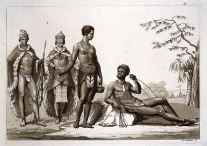 view Khoi people of the Gonaqua kingdom, southern Africa. Aquatint by G. Gallina, ca. 1819, after F. Le Vaillant.
