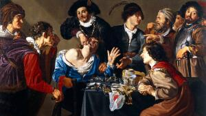 view An operator extracting a tooth. Oil painting by an unidentified painter, 16--, after Theodor Rombouts.