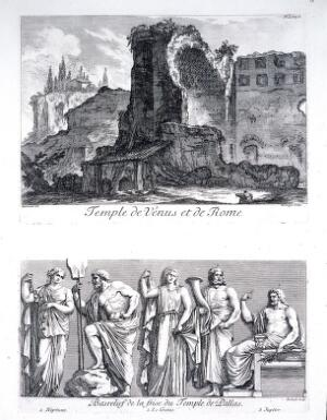 view The temple of Venus and Roma, Rome. Etching by D. Montaigu after J. Barbault.