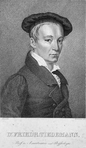 view Friedrich Tiedemann. Stipple engraving by F. Rosmaesler, 1830, after J.W.C. Roux.