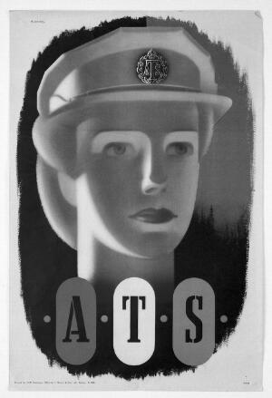 view Head of a woman soldier, a member of the ATS (Auxiliary Territorial Service). Colour lithograph after Abram Games, 1944.