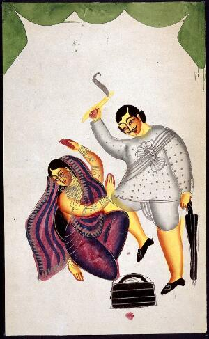 view A man attacking a woman