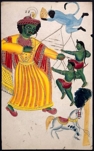 view Rama fighting with his sons with the help of Hanuman over a horse sacrifice. Watercolour drawing.
