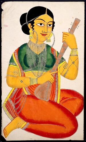 view A seated courtesan playing a sitar. Watercolour drawing.