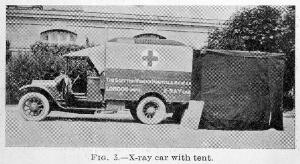 view X-ray car with tent. 20th century.