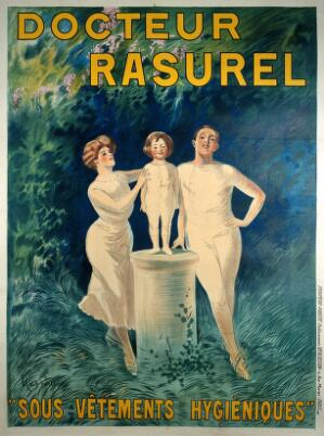 "view A family demonstrating underclothes sold by ""Docteur Rasurel"". Colour lithograph by L. Cappiello, 1911."