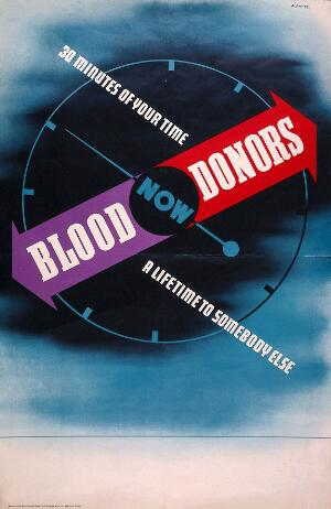view A compass clock, indicating the urgency of the need for blood donors. Colour lithograph by Abram Games, 1943.