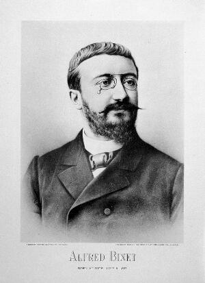 view Alfred Binet. Photogravure by Synnberg Photo-gravure Co., 1898.