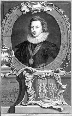 view George Villiers, 1st Duke of Buckingham (1592-1628). Engraving by Jacobus Houbraken after Cornelis Johnson.