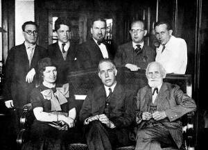 view I. P. Pavlov with Niels Bohr and Mrs Bohr, 1935.