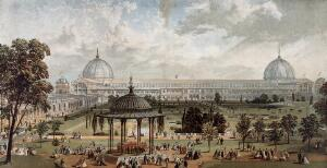 """view The """"Crystal Palace"""" from the Great Exhibition, installed at Sydenham. Coloured process print, ca. 1861 (?)."""