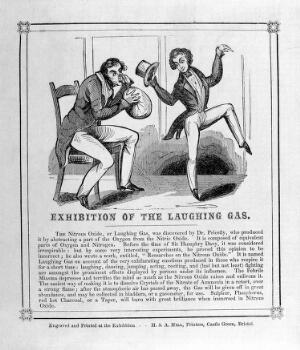view A man breathing in nitrous oxide (laughing gas) and a man exhibiting its exhilarating effects. Wood engraving, c. 1840.