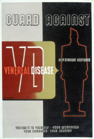 view Caution against sexually transmitted disease. Colour lithograph after A. Games, 1941.